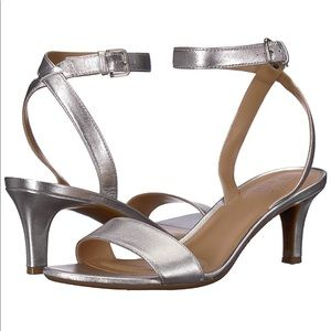 NATURALIZER Tinda Ankle Strap Heel Sandals Silver
